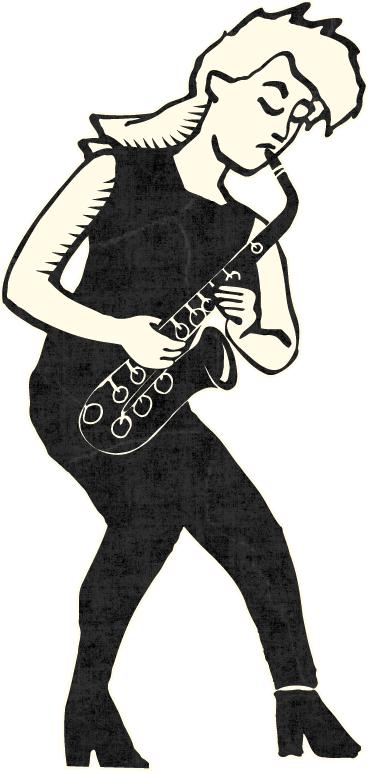 Saksofonia soittava nainen