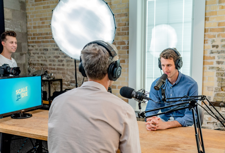 podcast recording setup with multiple people