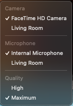 quicktime settings menu camera, microphone, quality