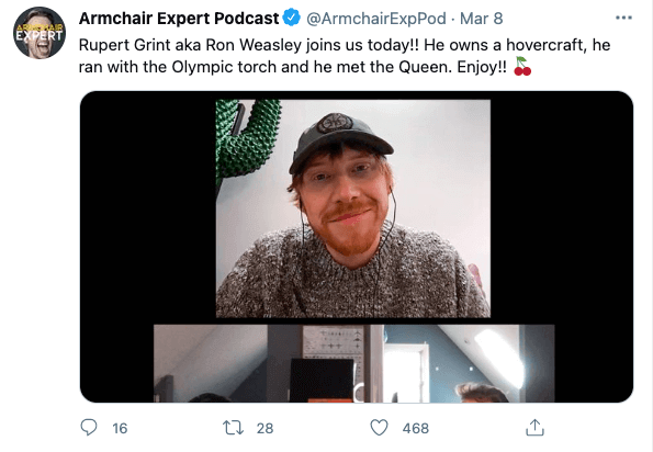 armchair expert podcast tweet