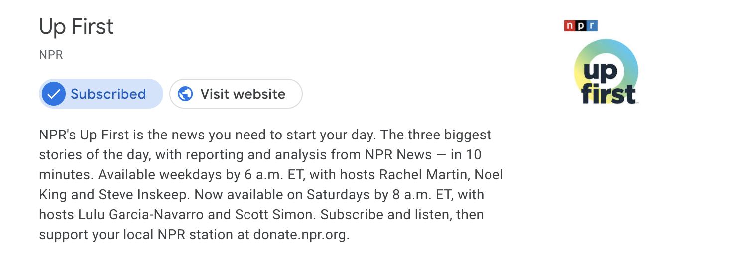 npr up first podcast description