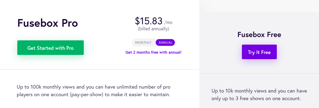 Fuxebox pricing overview