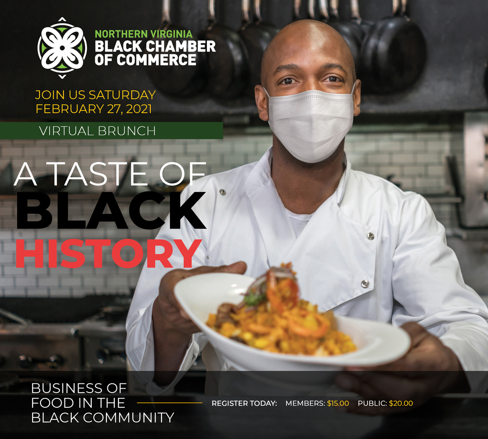 Flyer for A Taste of Black History Virtual Brunch. Join us Saturday, February 27, 2021.