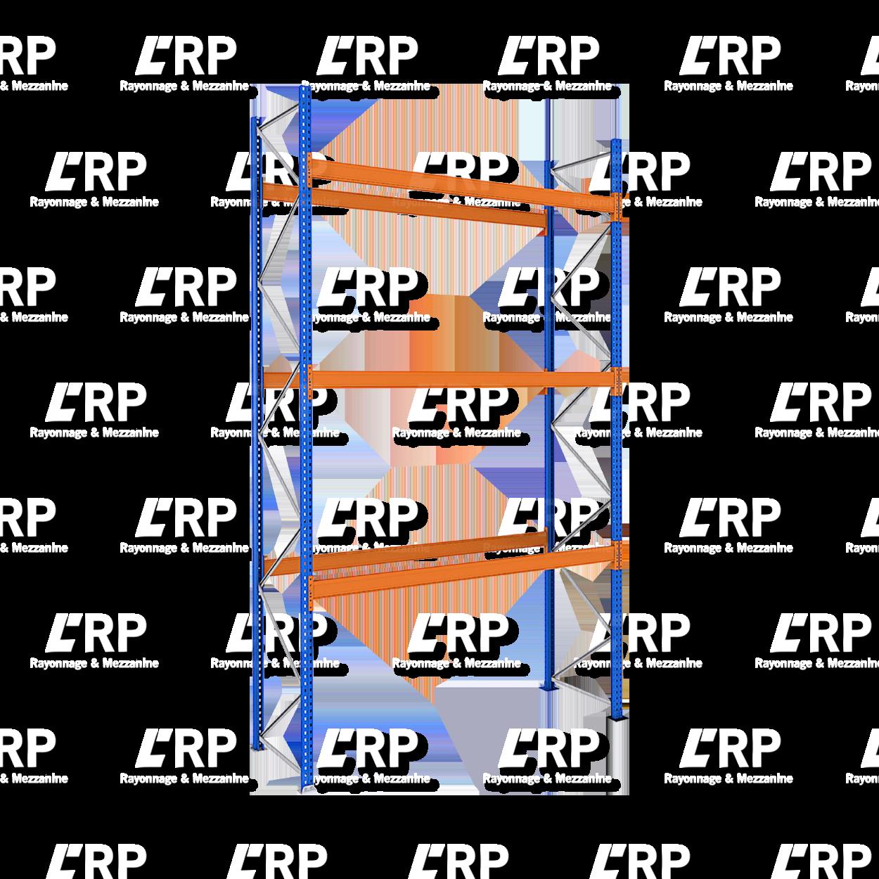 Rack palettier 1 travée de 2700mm pour 12 palettes Europe / 3000kg par niveau de lisse