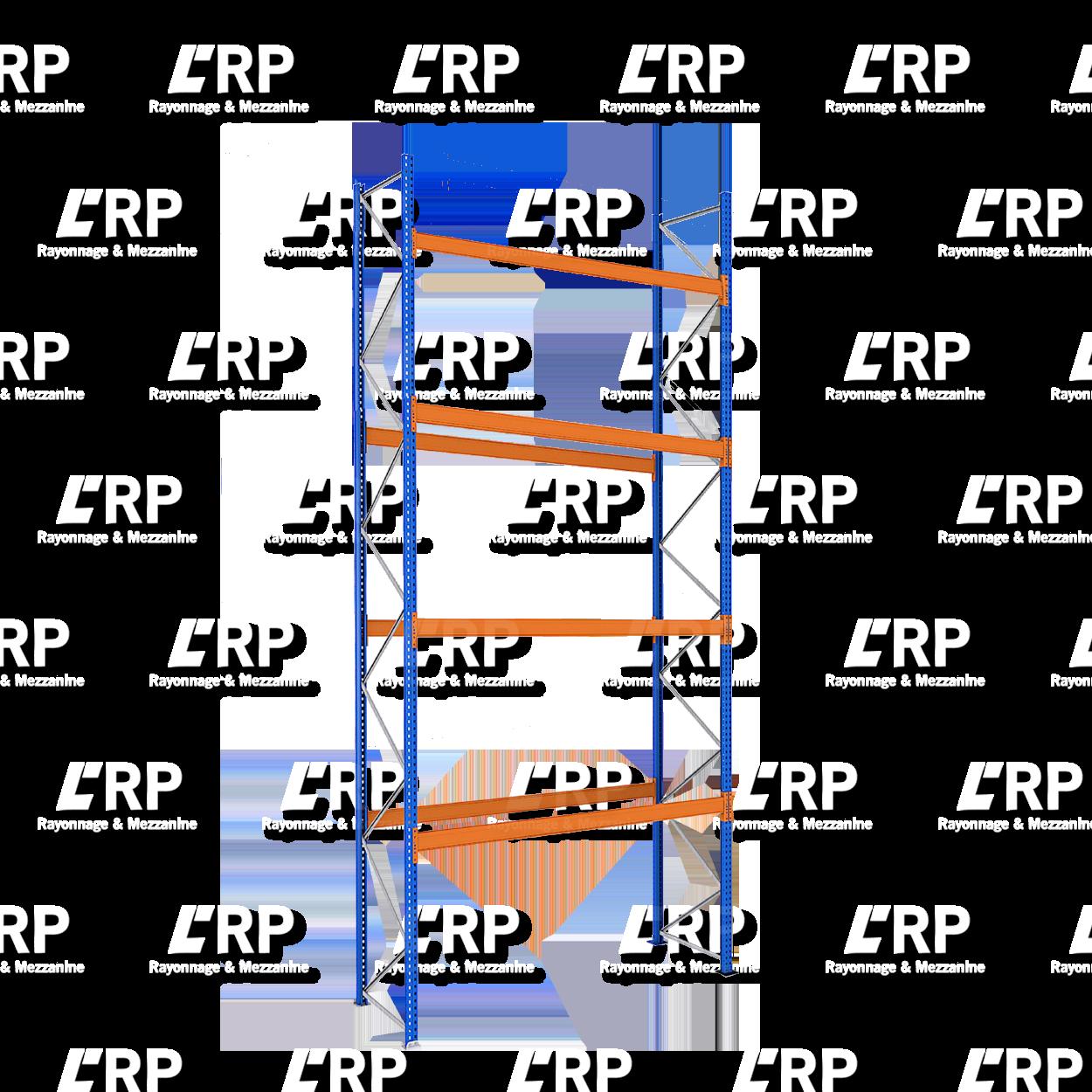Rack palettier 1 travée de 2700mm pour 15 palettes Europe / 3000kg par niveau de lisse