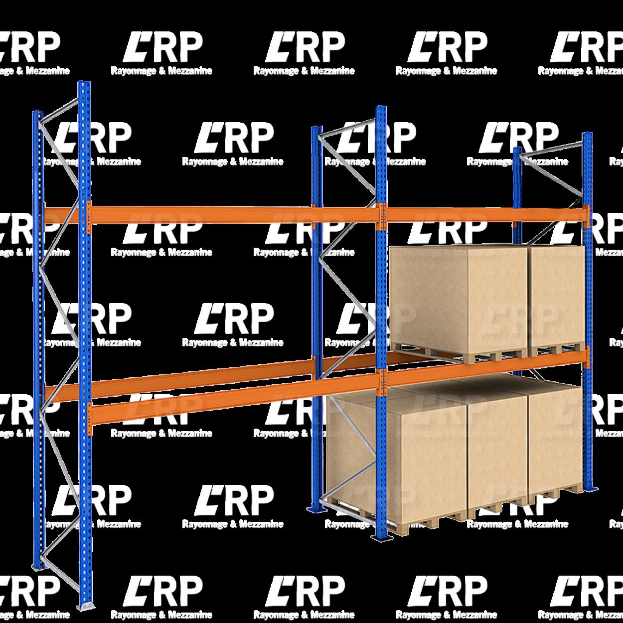 Rack palettier 2 travées de 2700mm pour 18 palettes Europe / 2000kg par niveau de lisse