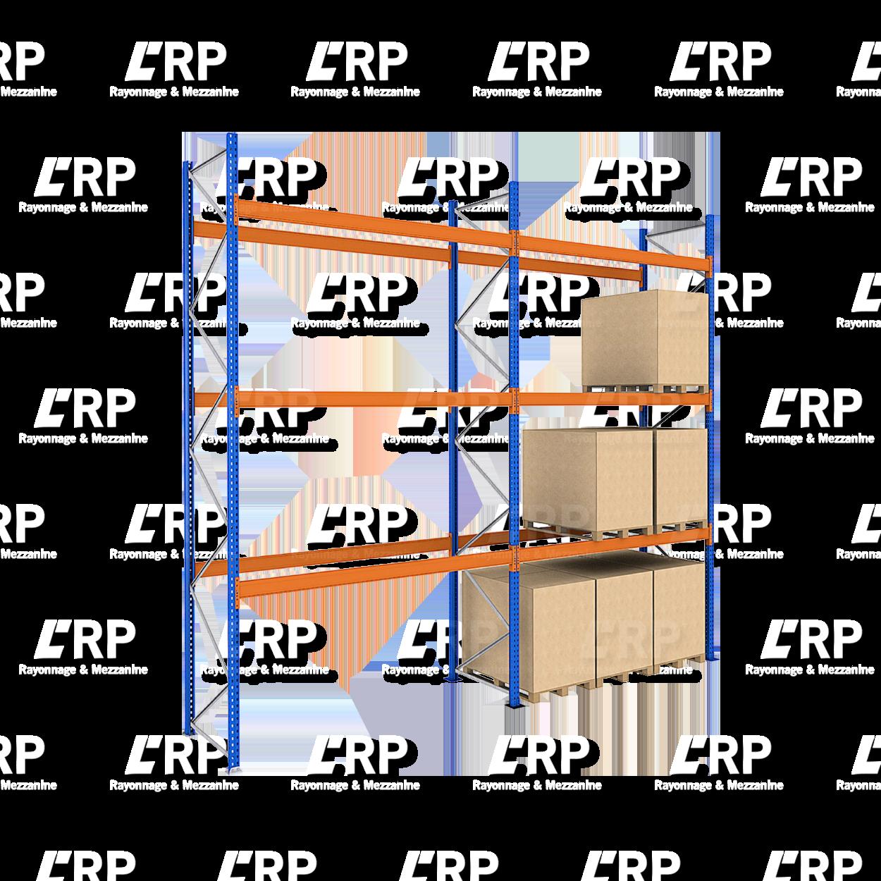 Rack palettier 2 travées de 2700mm pour 24 palettes Europe / 3000kg par niveau de lisse