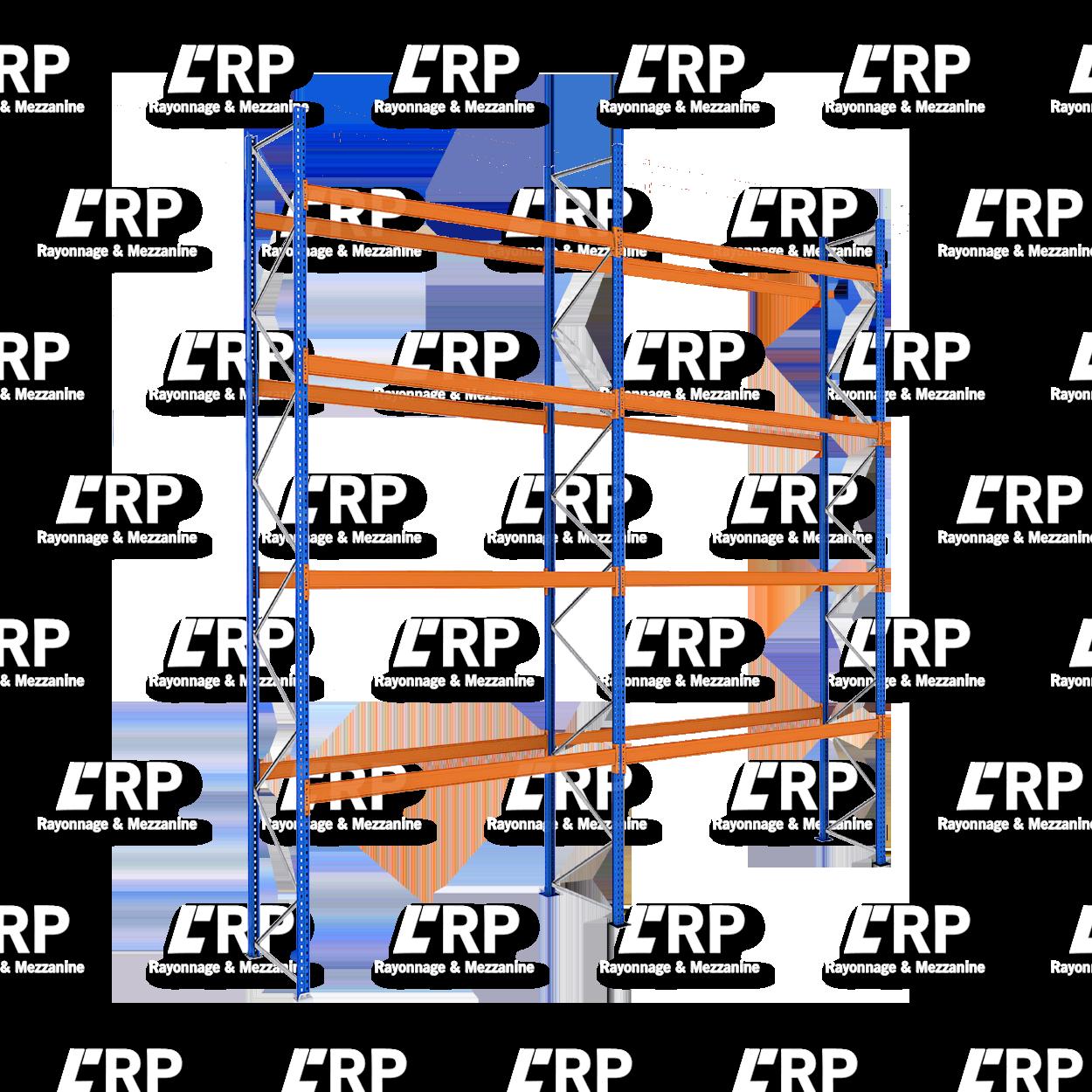 Rack palettier 2 travées de 2700mm pour 30 palettes Europe / 3000kg par niveau de lisse