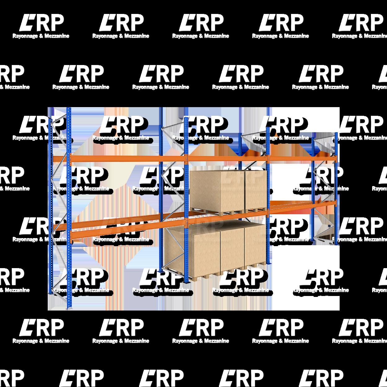 Rack palettier 3 travées de 2700mm pour 27 palettes Europe / 3000kg par niveau de lisse