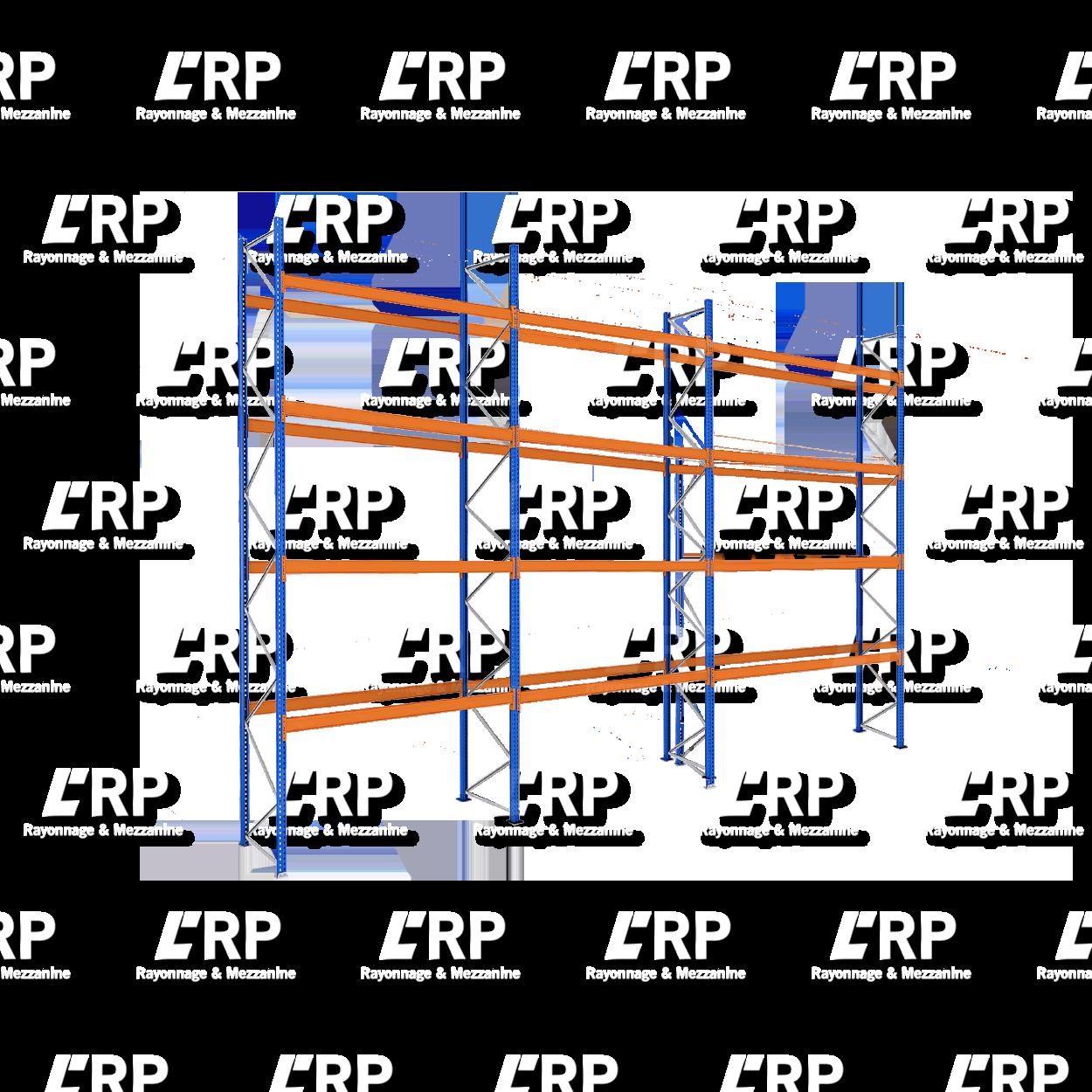 Rack palettier 3 travées de 2700mm pour 45 palettes Europe / 3000kg par niveau de lisse