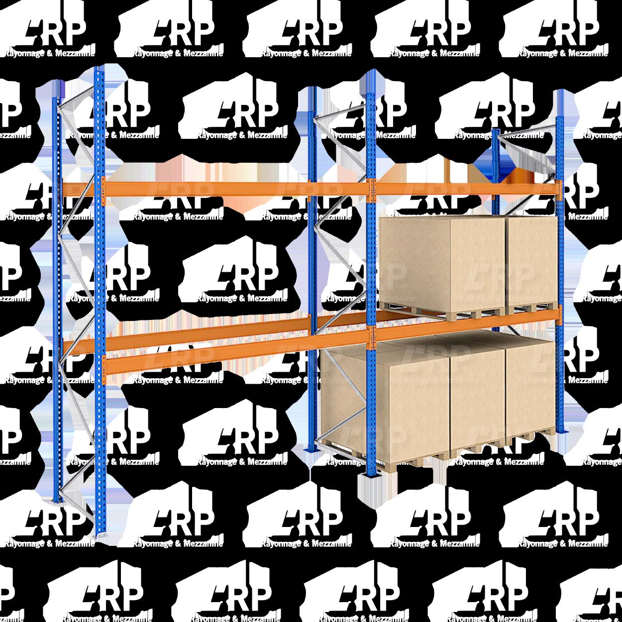 Rack palettier 2 travées de 2700mm pour 18 palettes Europe / 3000kg par niveau de lisse