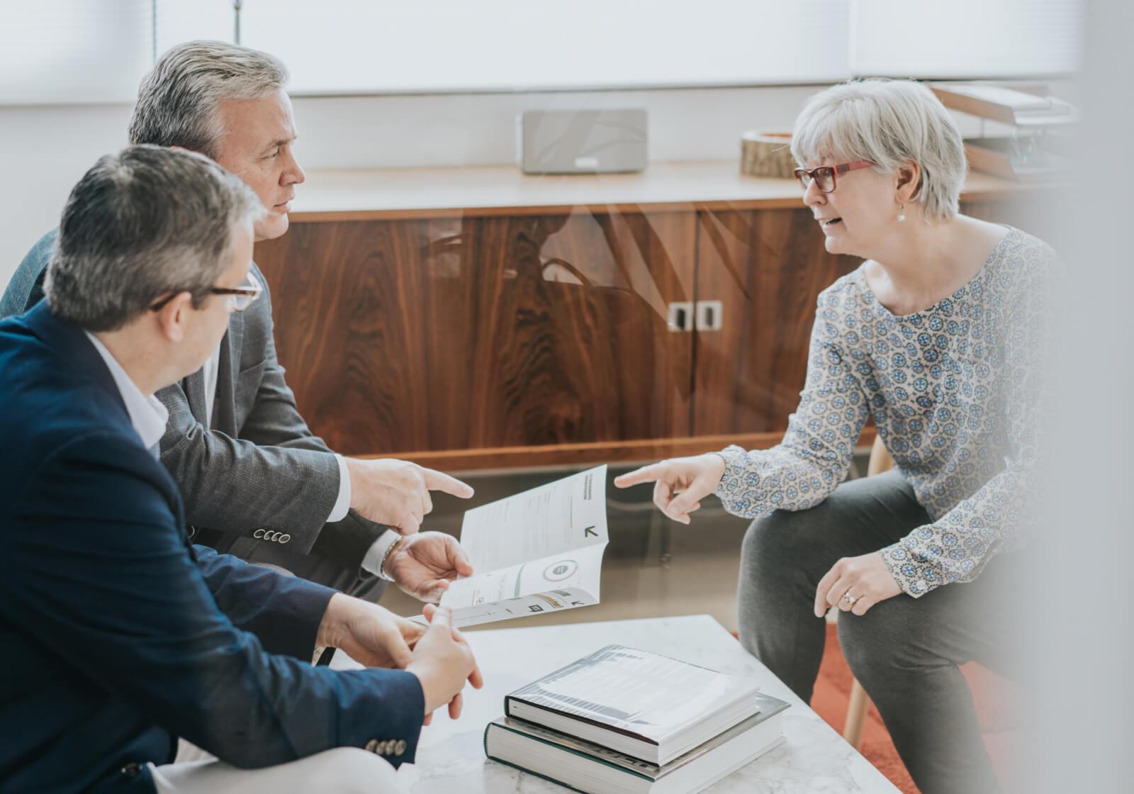 Three professional people having a meeting