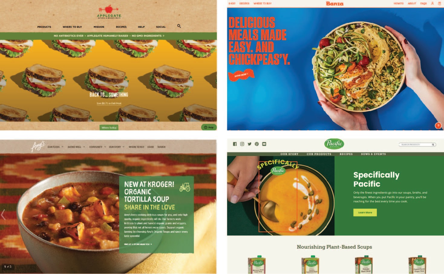 Four screenshots of health food websites