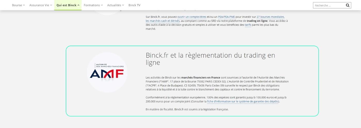 Autorisations AMF de Binck banque