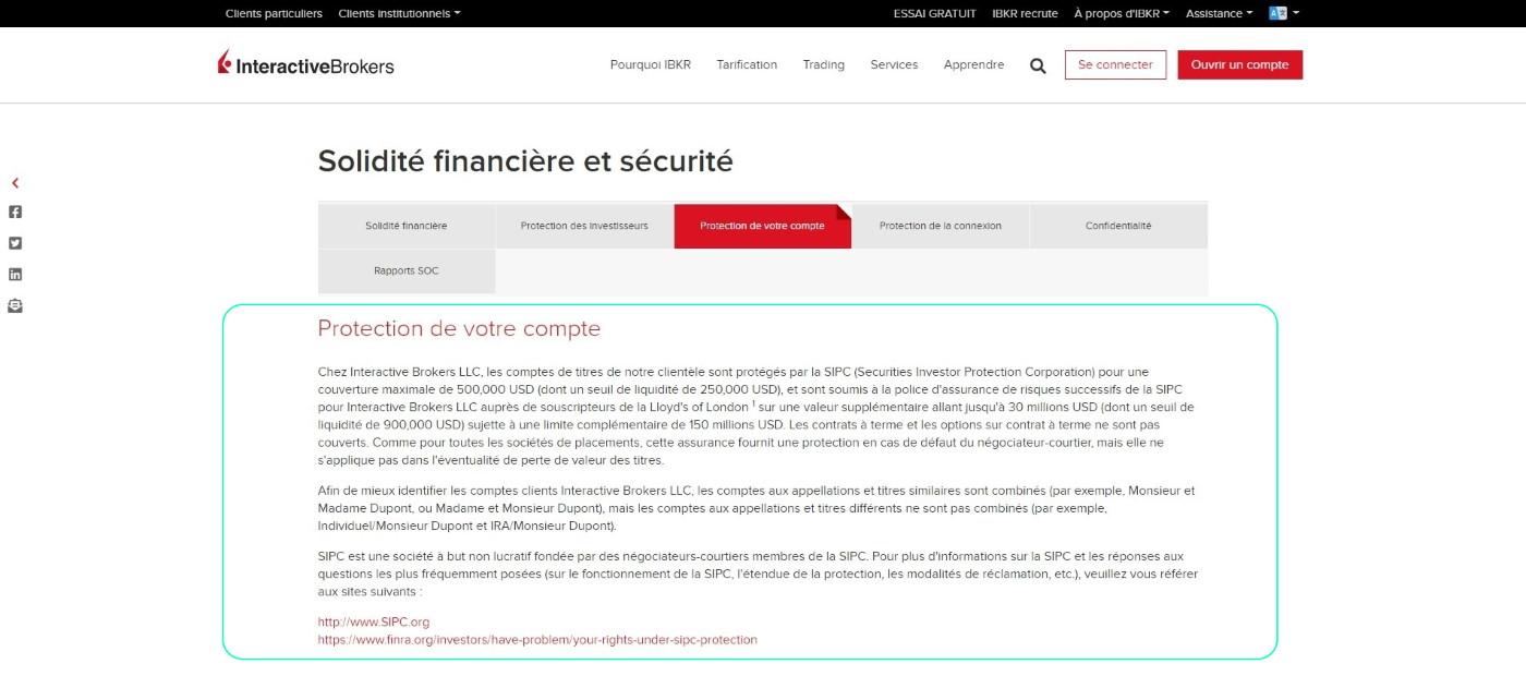 Garantie des dépôts de 500000 USD chez le courtier en bourse Interactive brokers