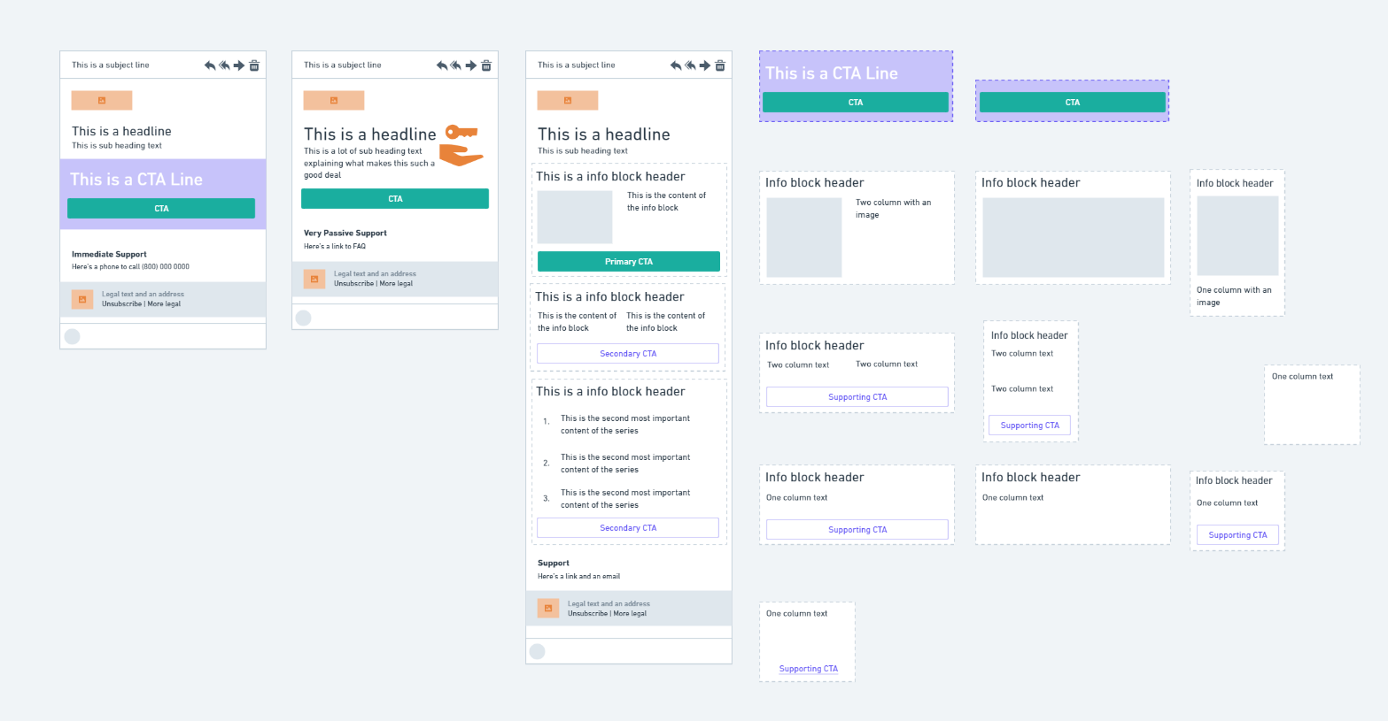Various email component wireframes in Whimsical