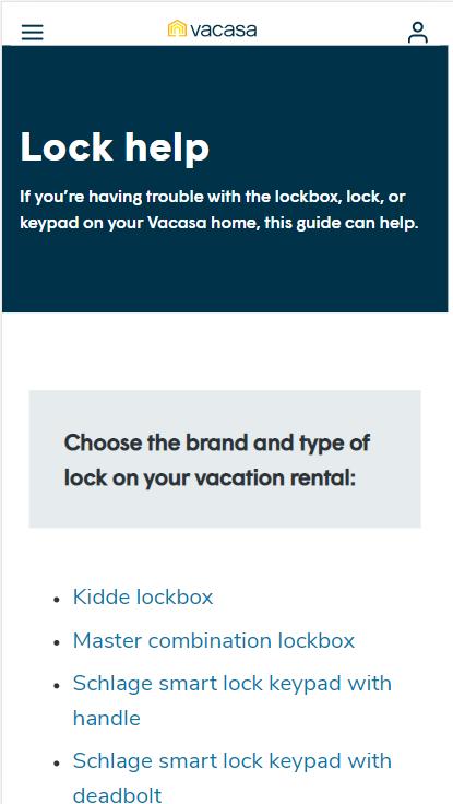 Lockbox help page on Vacasa.com