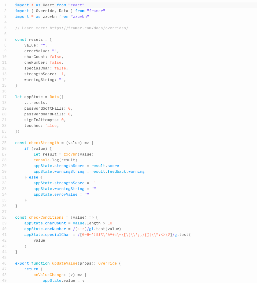 Screenshot of React code in FramerX. One can tell that the code checks password strength.
