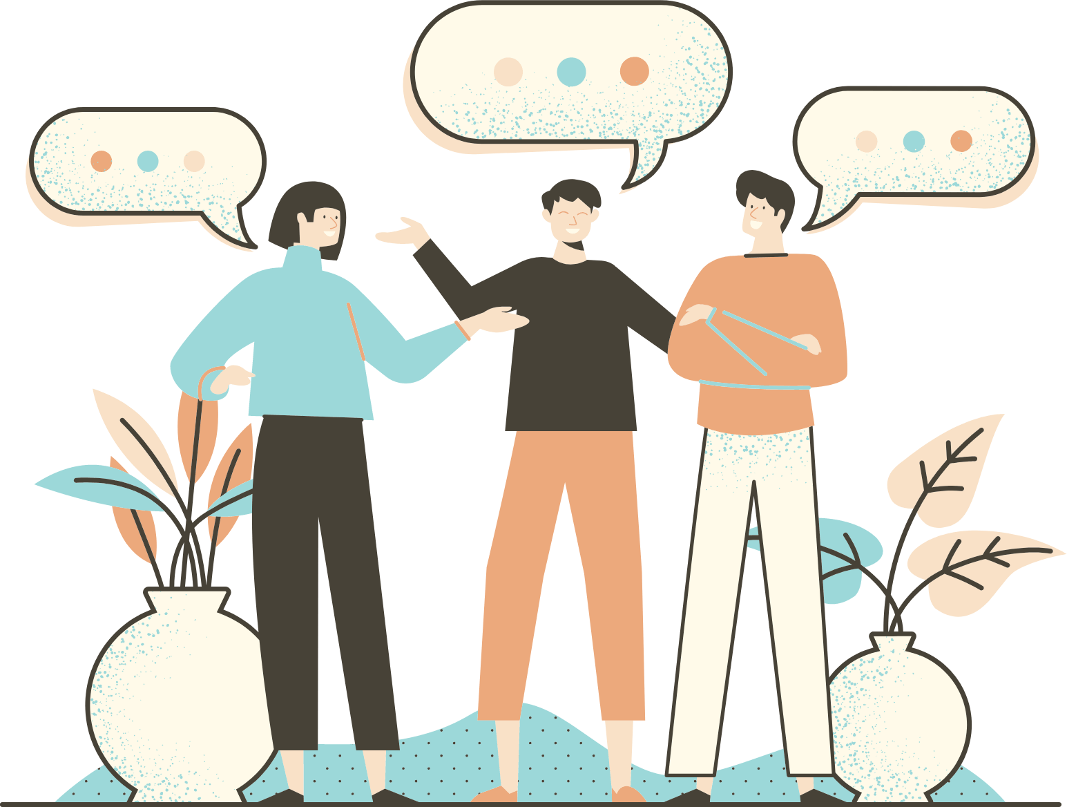 Illustration of people chatting