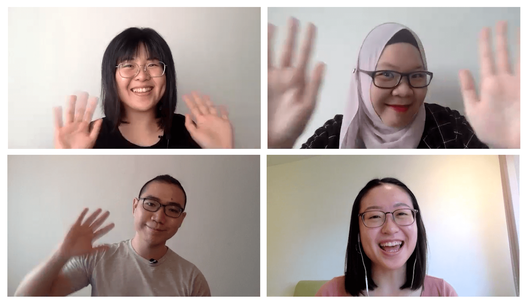 A photo of the Tribeless Team, from top left to bottom right, Gwen Yi, Sim, Shawn and Gwen Lyne.