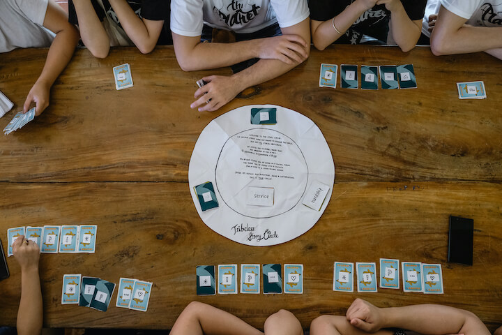 """A top-down view of the Empathy Box prototype, then known as """"Tribeless-In-A-Box"""", being play tested at a ChangemakerXChange event in Manila."""