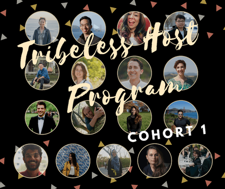 A poster with the collage of 17 profile photos of people who signed up for Tribeless' first Tribeless Host Program.