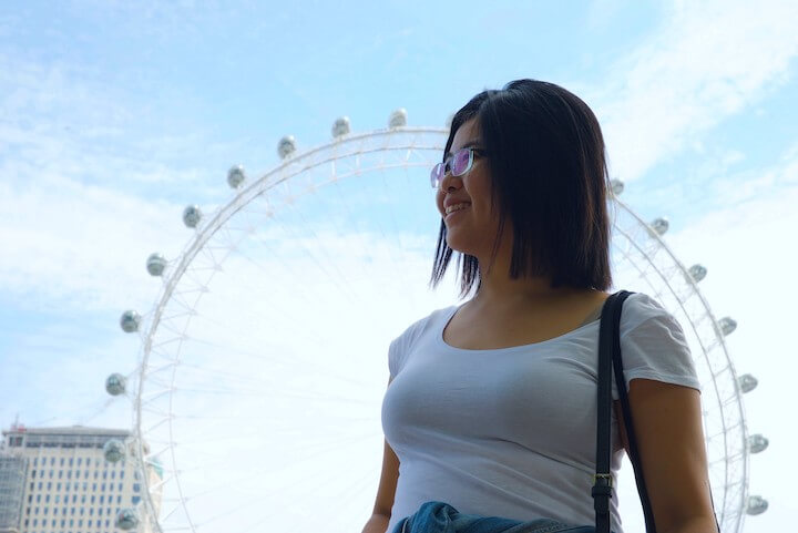 Gwen Yi at London with the London Eye in the background