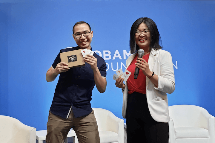 Gwen Yi and Shawn posing at the stage during their brief presentation at Obama APAC Leaders Summit 2020