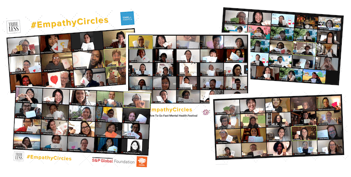 A collage of group photos of the virtual workshops facilitated by Tribeless