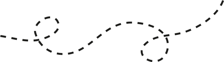 A dotted line in a swirly pattern to represent Tribeless' journey