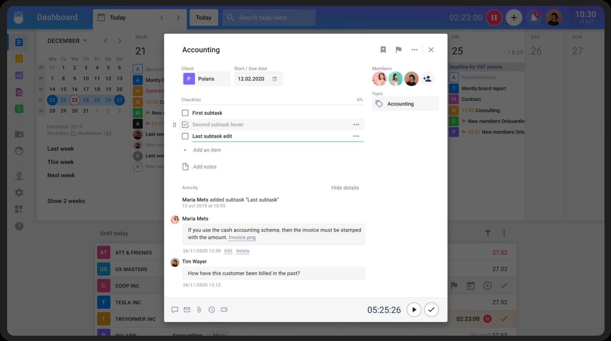 Image of adding tasks in Uku Dashboard