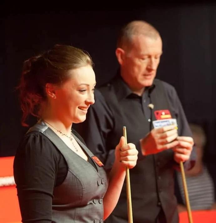 Hannah playing Steve Davis at snooker