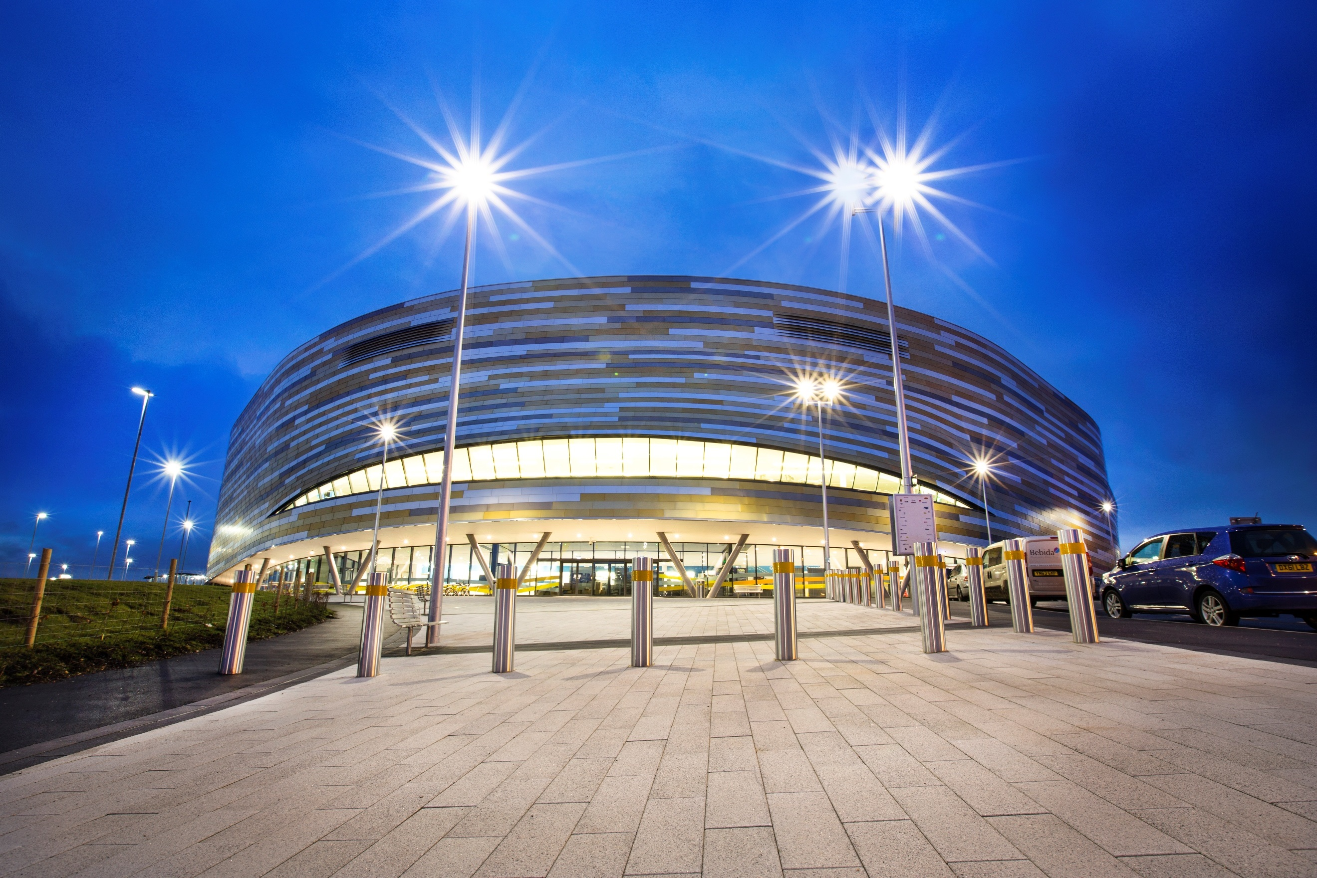 An image of the outside of the Derby Arena building