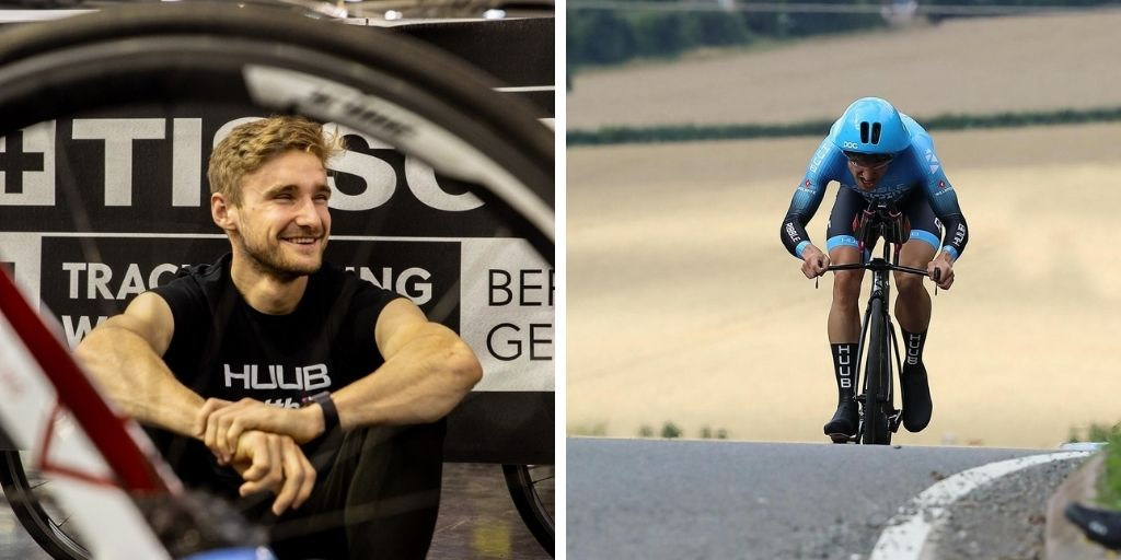 Two images of Dan Bigham. In one he is sitting wearing a Huub Tshirt and in the other he is cycling competitively