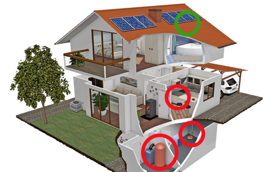 A house with areas prone to water damage highlighted.