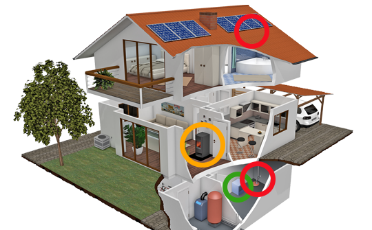 A house with areas prone to electrical issues highlighted.