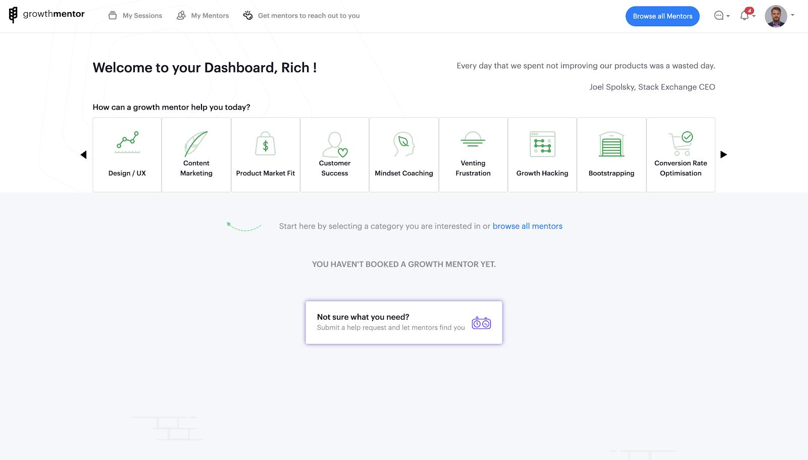 GrowthMentor's dashboard