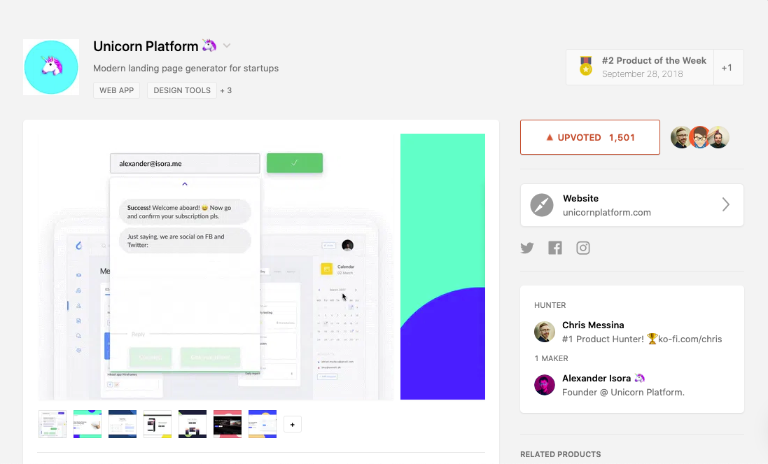 Unicorn Platform on Product Hunt