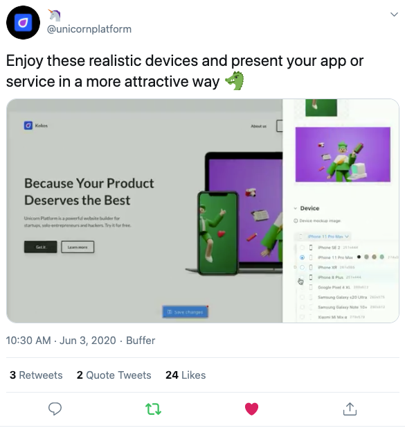 Unicorn Platform's tweet