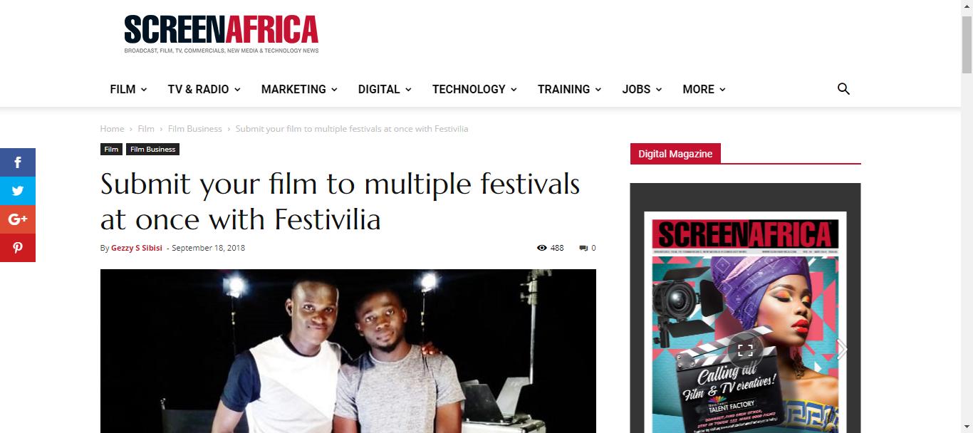 Festivilia on ScreenAfrica