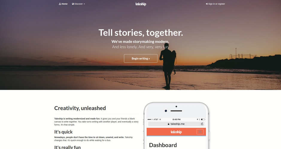 Taleship First Landing Page