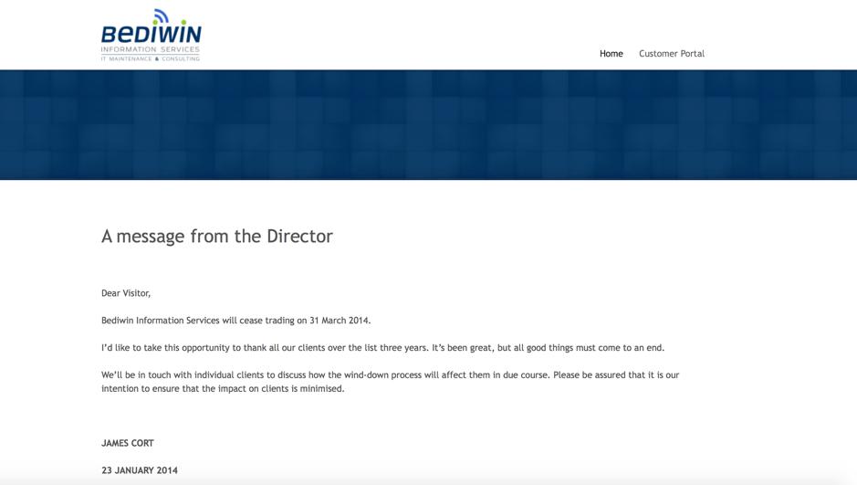 Bediwin Information Services Shut Down