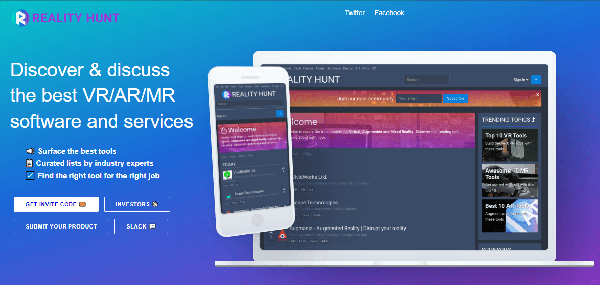 Reality Hunt Landing Page