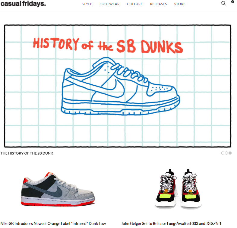 Casual Fridays screenshot of home page website.
