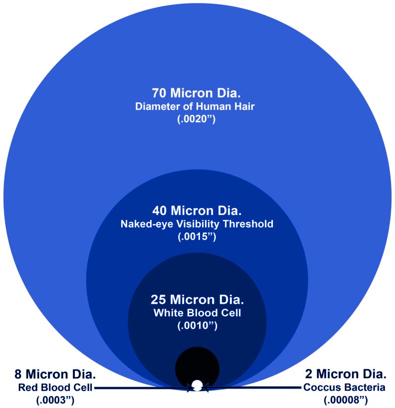a graph describing the diameter of a micron