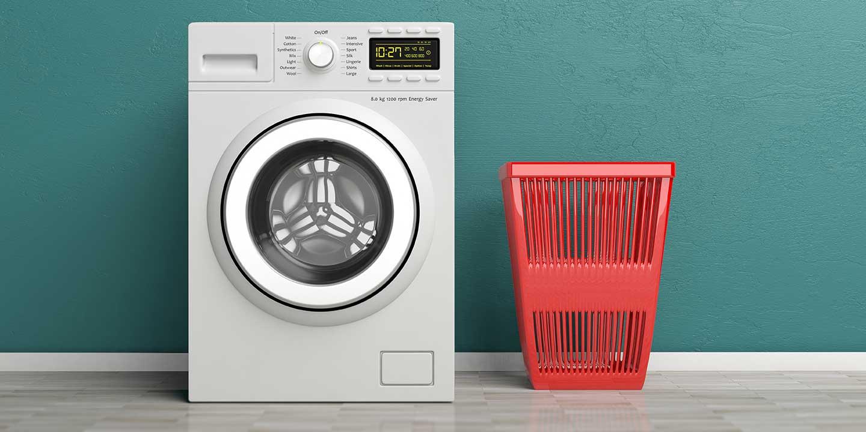 Washing machine with red laundry basket