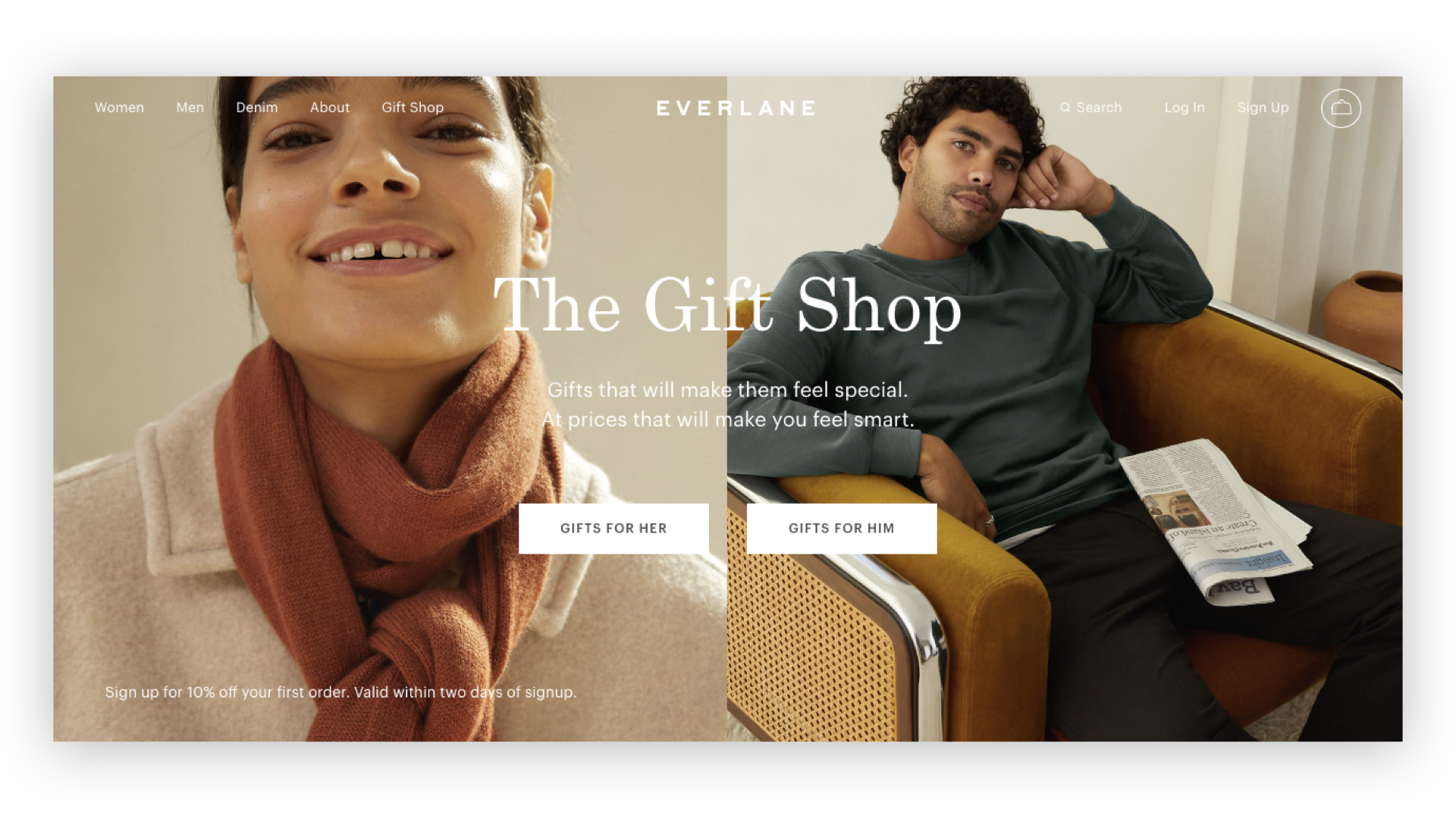 Digital agency on DTC strategy: Everlane's eCommerce site homepage