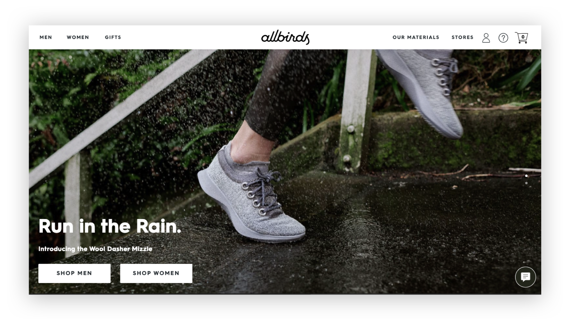 Digital agency on DTC strategy: Allbird's eCommerce site homepage