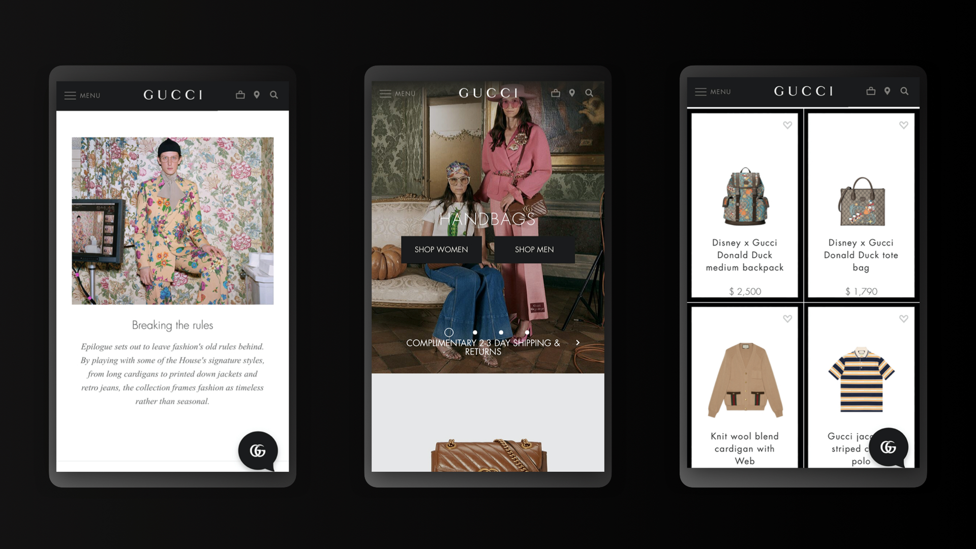 Digital agency on Gucci: Gucci's eCommerce Site: Mobile UI