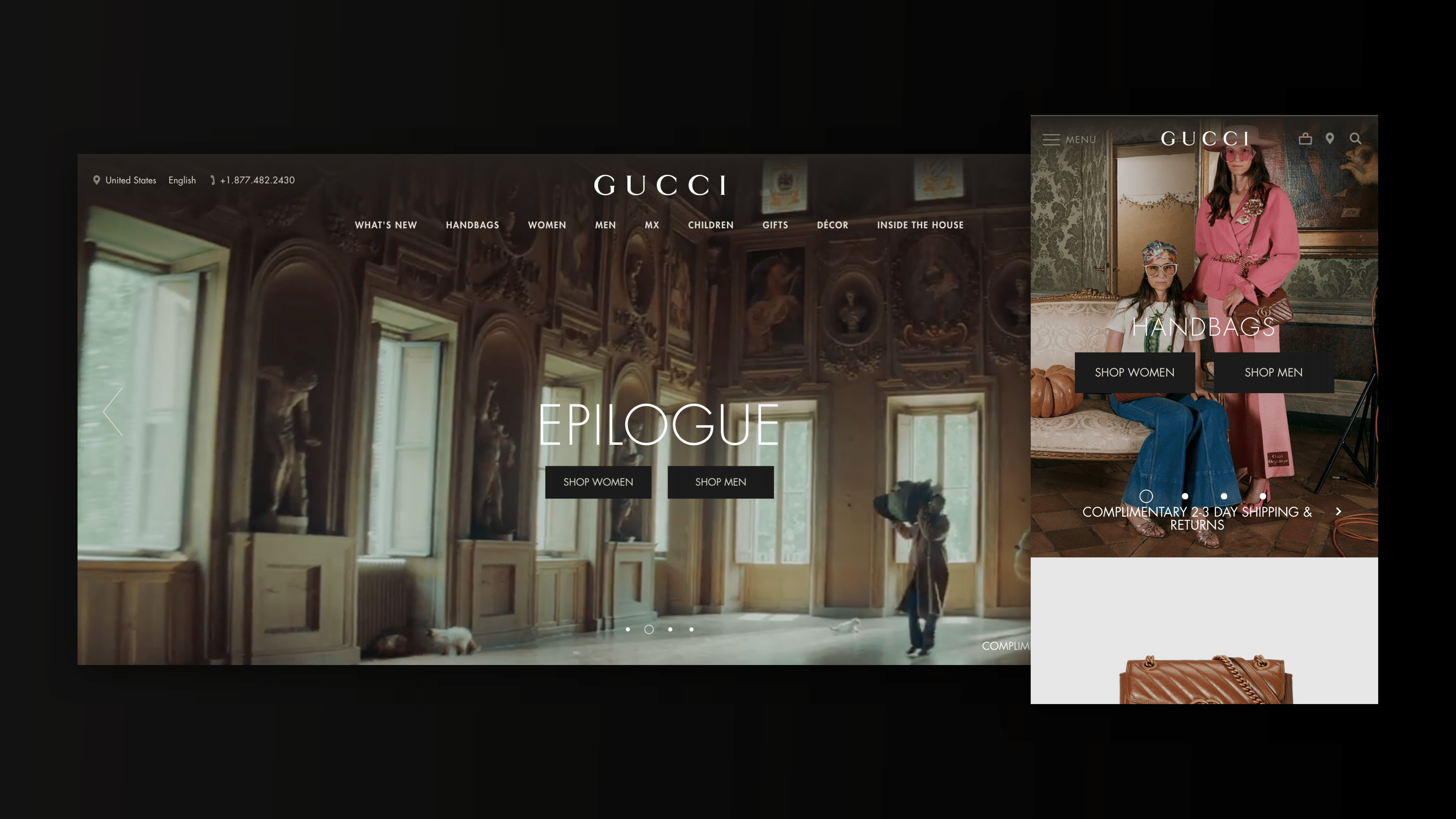 Digital agency on Gucci: Gucci's eCommerce Site: Optimized for Desktop & Mobile